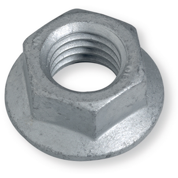 Ribbed nuts, with flange, steel 10, zinc flake coating