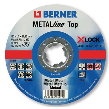 Rezný kotúč METALline Top X-LOCK 125 x 1,0 x 22 mm