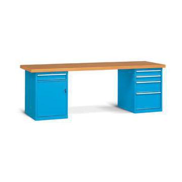 werkbank hxbxt 840x2500x750 mm multiplex 40 mm 5 schubladen 1 schrankfach v erstellboden ral501. Black Bedroom Furniture Sets. Home Design Ideas