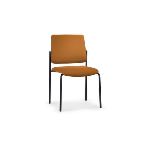 Polsterstuhl,Stoff orange,4-Fuß,Gestell schwarz,Rückenlehne gerade