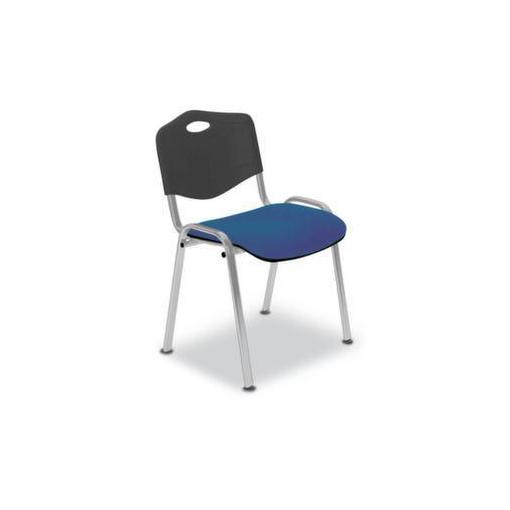 Stahlrohrstühle,Sitz dunkelblau,Rücken Kunststoff schwarz