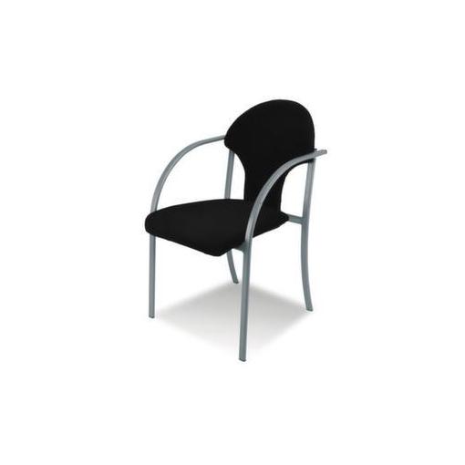 Besucherstuhl,Stoff schwarz,Sitz BxT 550x450mm,Gestell alusilber