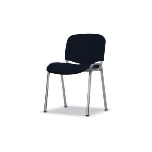 Stahlrohrstuhl,Stoff dunkelblau,Sitz BxT 475x415mm,Gestell alusilber